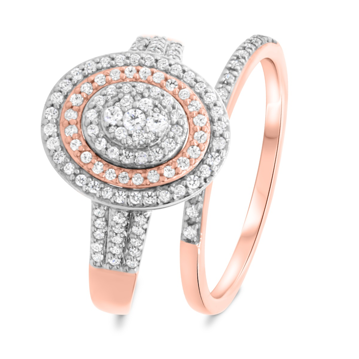3/4 Carat T.W. Diamond Matching Bridal Ring Set 14K Rose Gold
