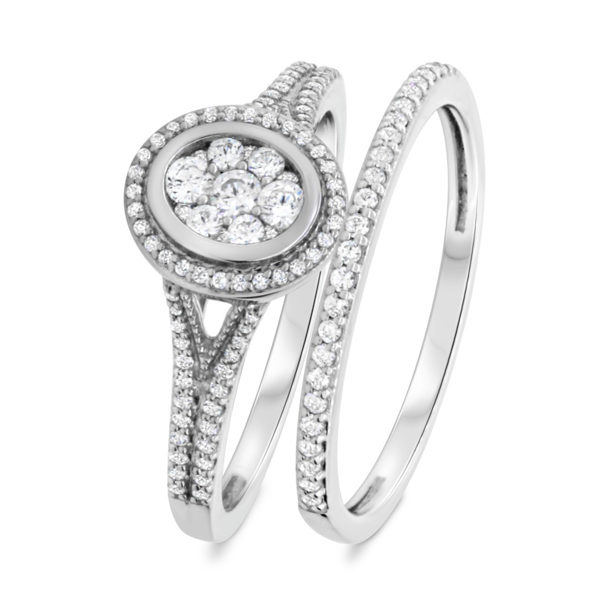 1/2 CT. T.W. Diamond Matching Bridal Ring Set 10K White Gold