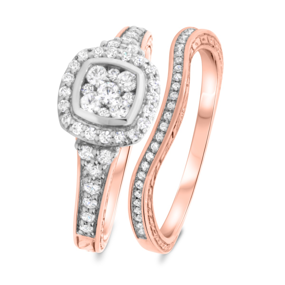 3/4 CT. T.W. Diamond Matching Bridal Ring Set 10K Rose Gold