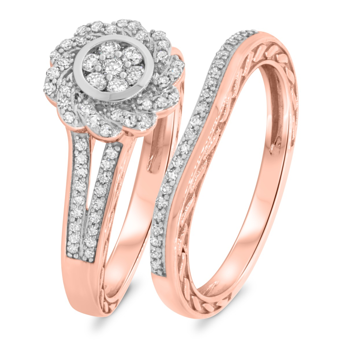 1/2 CT. T.W. Diamond Matching Bridal Ring Set 10K Rose Gold