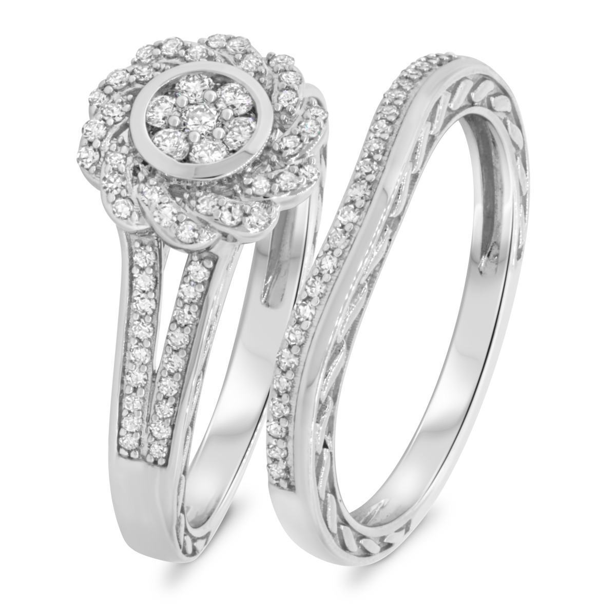 1/2 Carat T.W. Diamond Matching Bridal Ring Set 10K White Gold