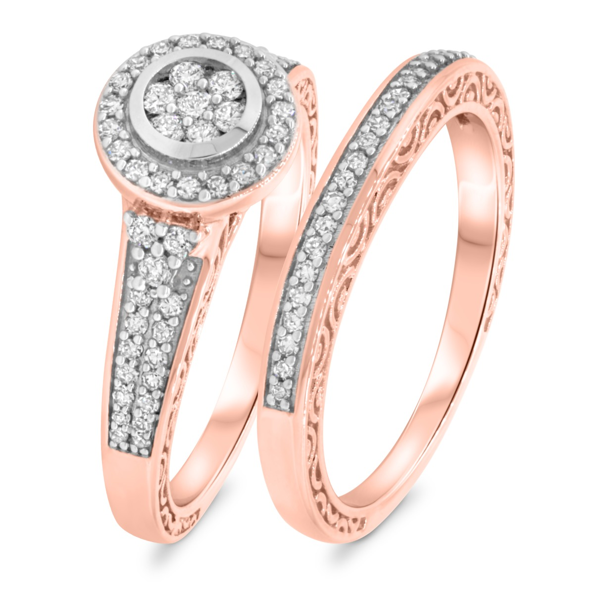 5/8 Carat T.W. Diamond Matching Bridal Ring Set 10K Rose Gold
