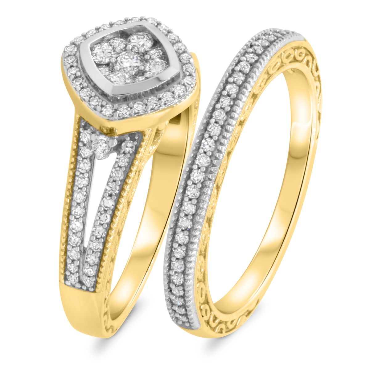 3/4 CT. T.W. Diamond Matching Bridal Ring Set 10K Yellow Gold