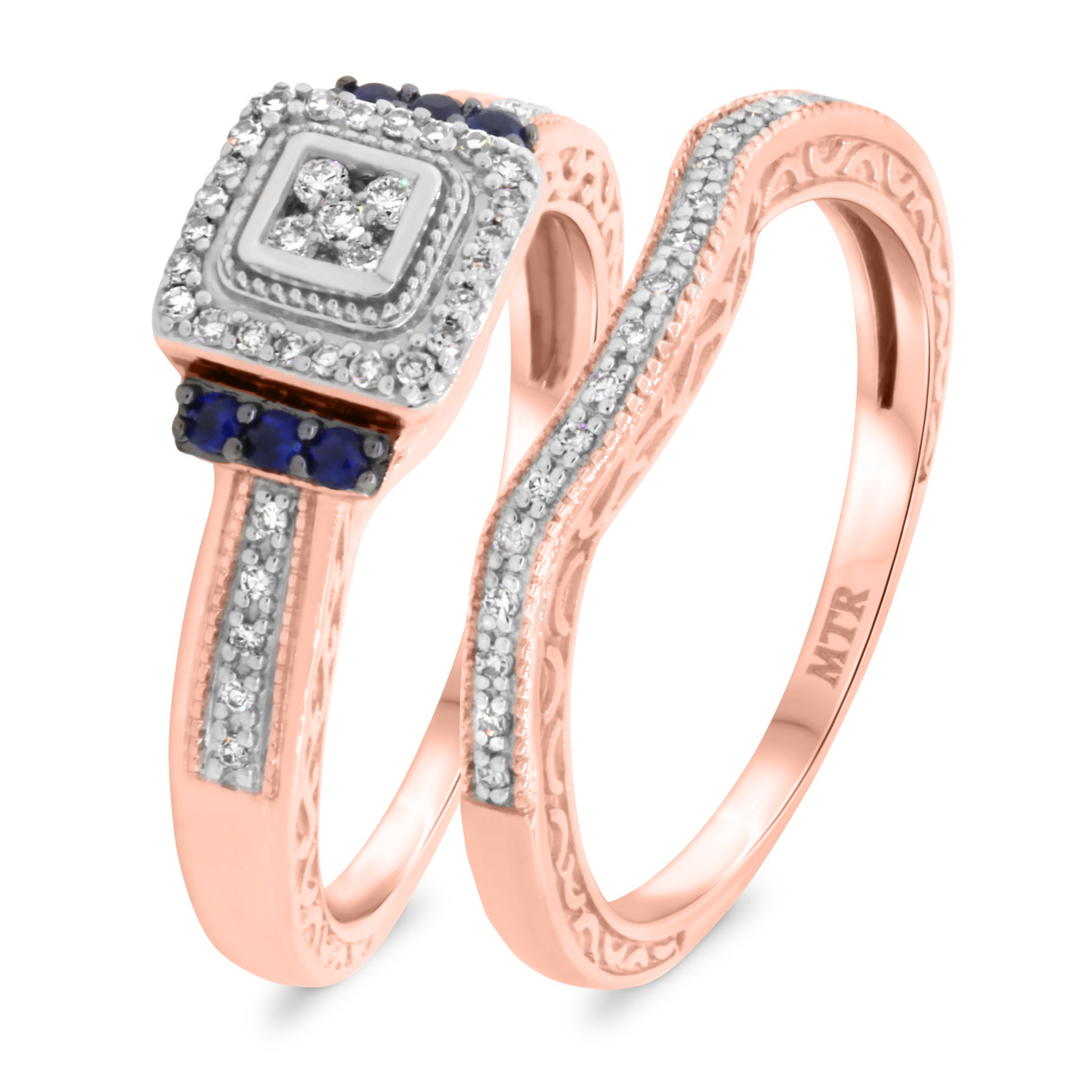 3/8 Carat T.W. Diamond Matching Bridal Ring Set 14K Rose Gold