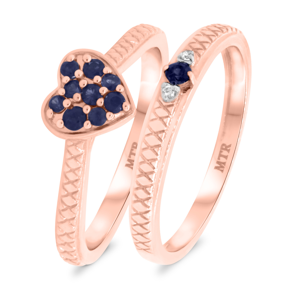 1/3 CT. T.W. Sapphire Matching Bridal Ring Set 10K Rose Gold