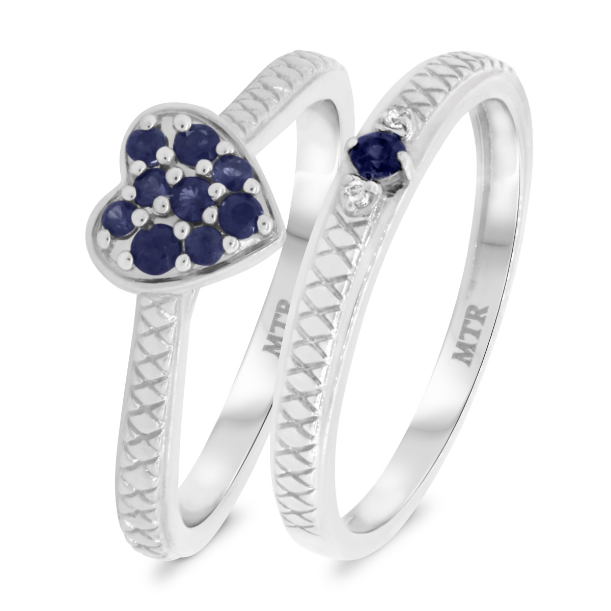 1/3 CT. T.W. Sapphire Matching Bridal Ring Set 14K White Gold