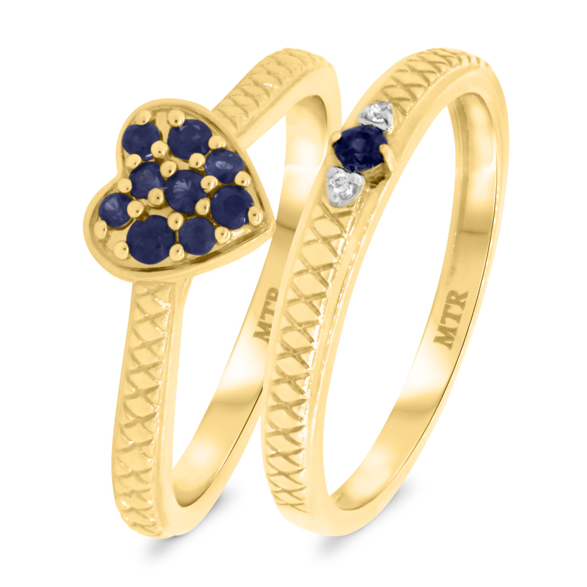 1/3 CT. T.W. Sapphire Matching Bridal Ring Set 14K Yellow Gold