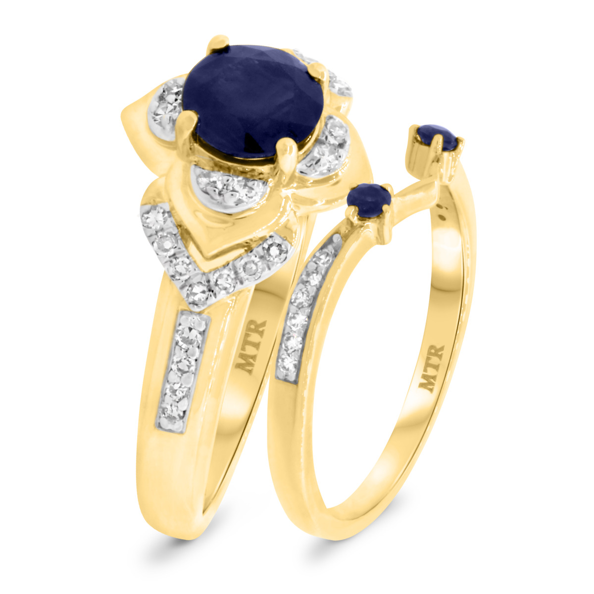 1 1/4 CT. T.W. Sapphire Matching Bridal Ring Set 10K Yellow Gold