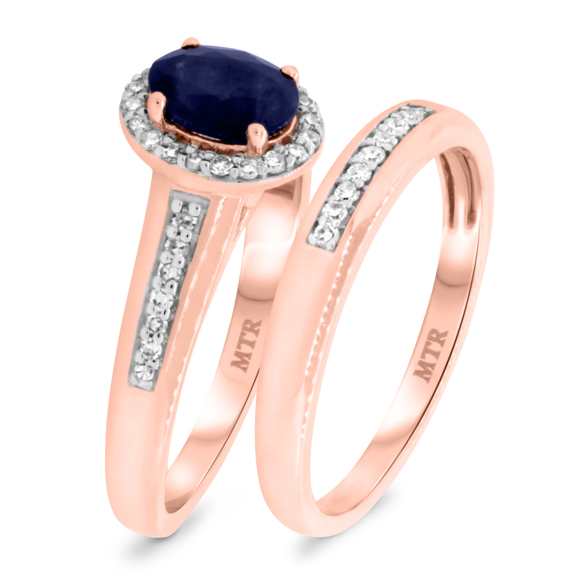 1 1/4 CT. T.W. Sapphire Matching Bridal Ring Set 14K Rose Gold