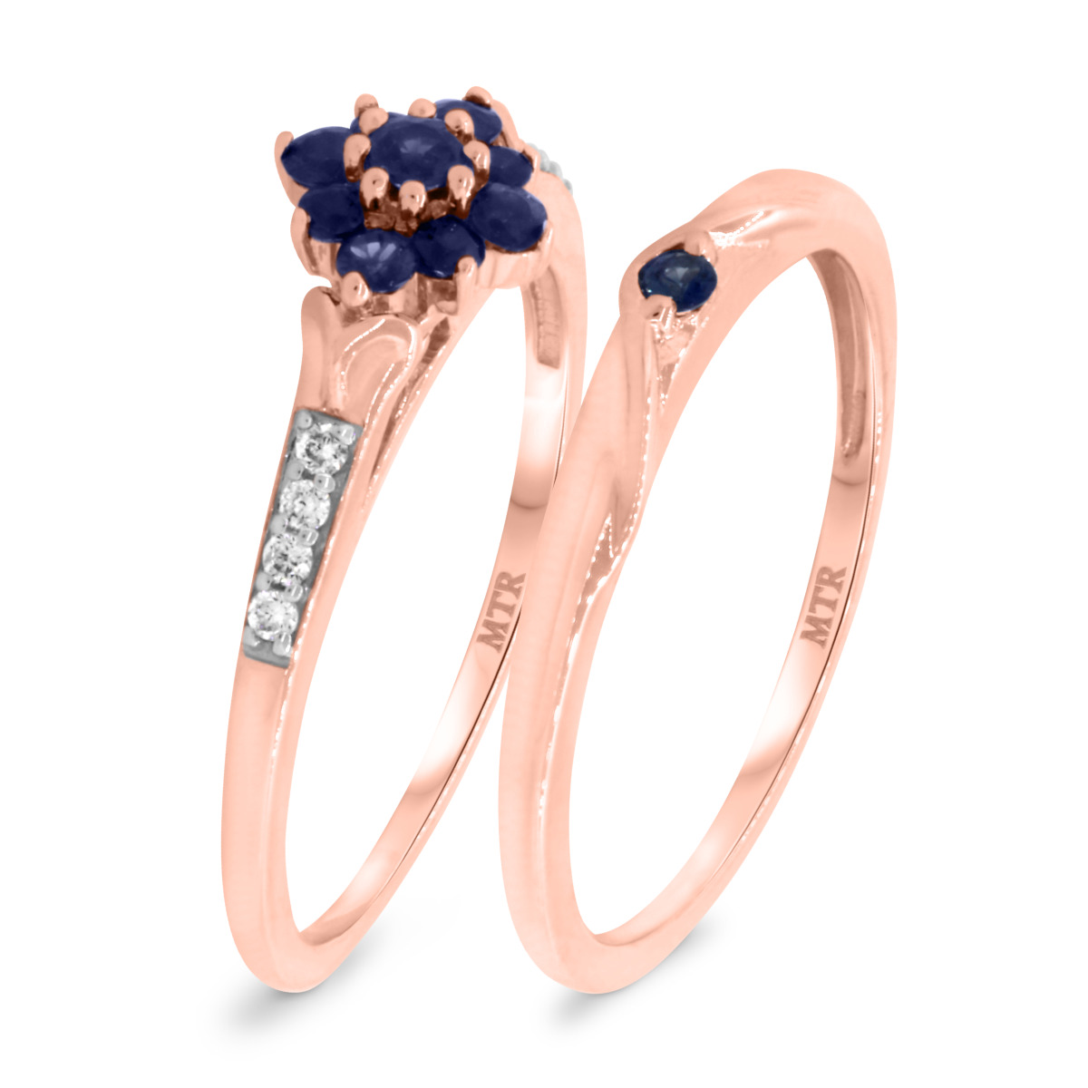 3/8 CT. T.W. Sapphire Matching Bridal Ring Set 10K Rose Gold