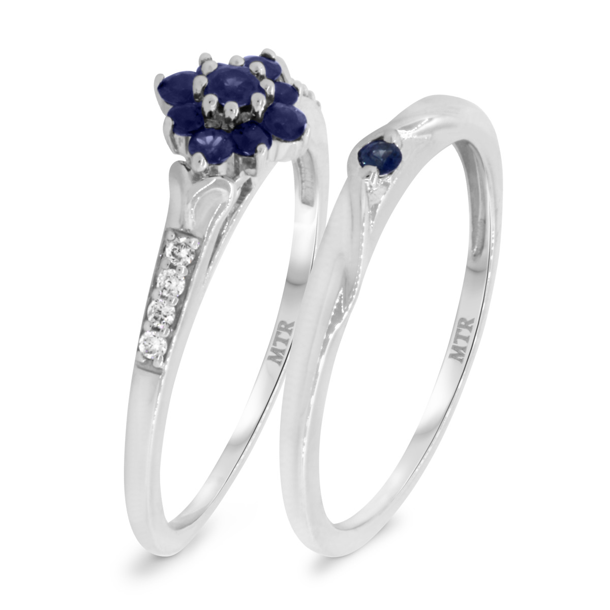 3/8 Carat T.W. Sapphire Matching Bridal Ring Set 10K White Gold