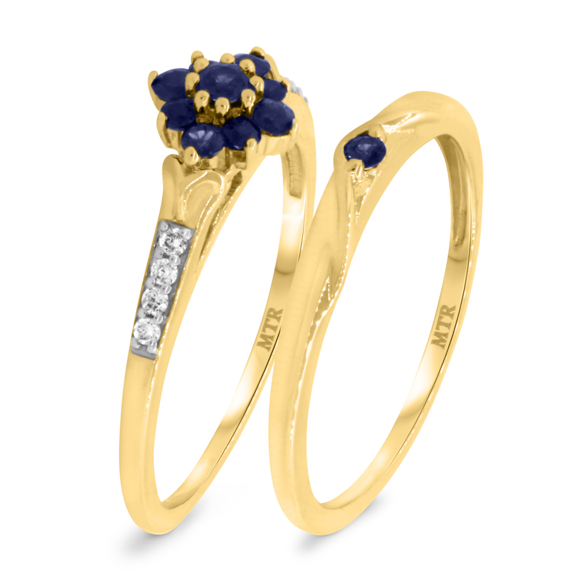 3/8 CT. T.W. Sapphire Matching Bridal Ring Set 10K Yellow Gold