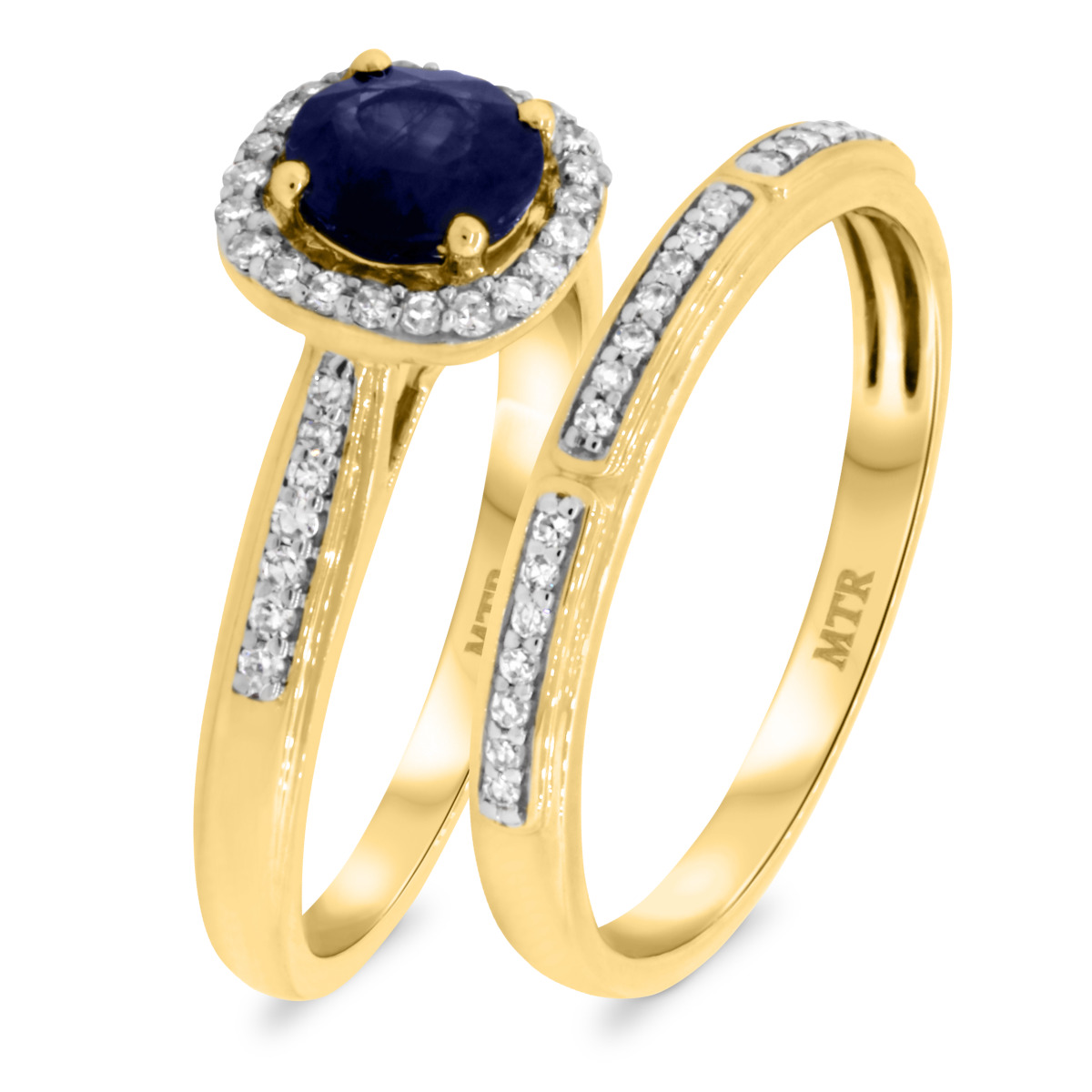 1 1/3 Carat T.W. Sapphire Matching Bridal Ring Set 10K Yellow Gold