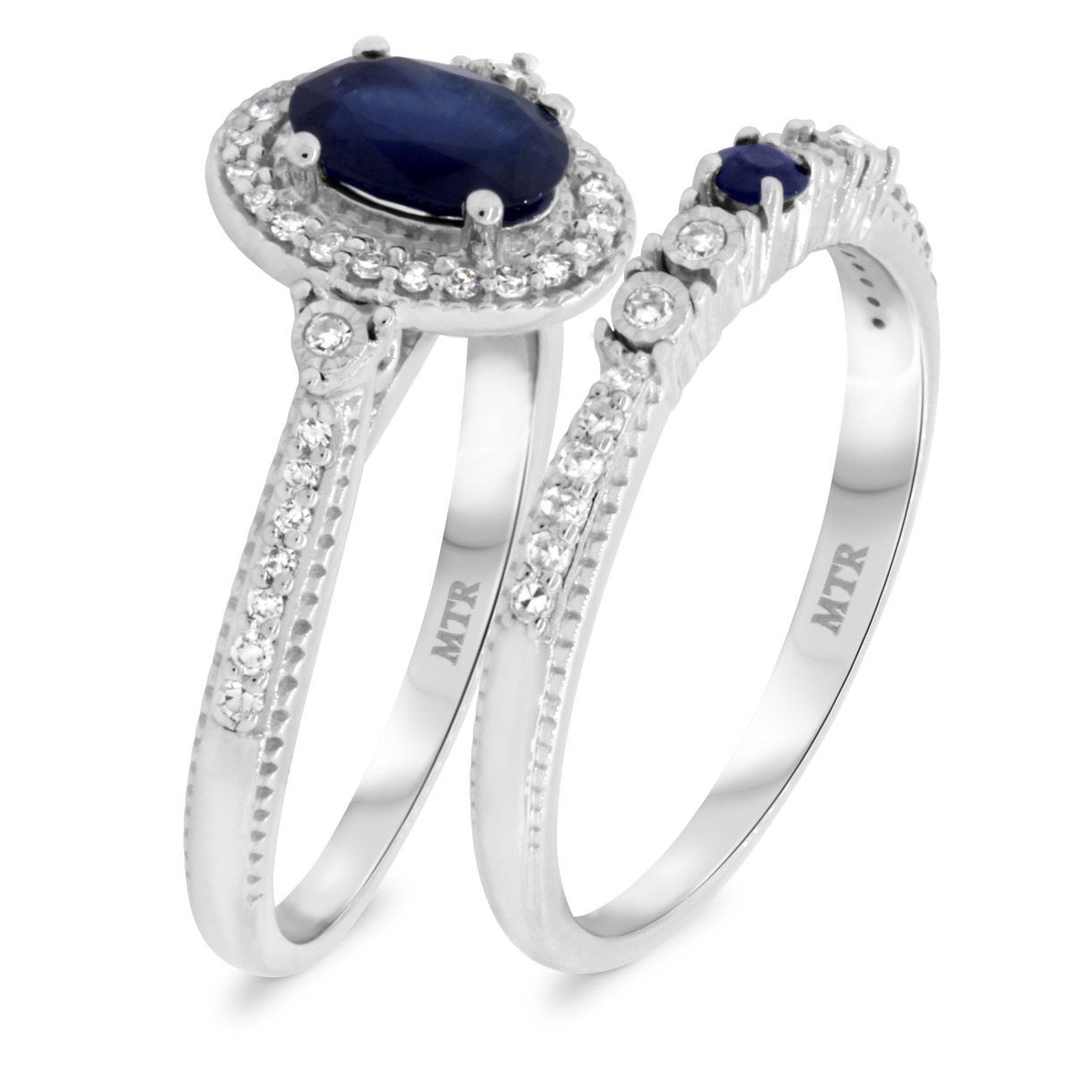 1 1/3 CT. T.W. Sapphire Matching Bridal Ring Set 14K White Gold