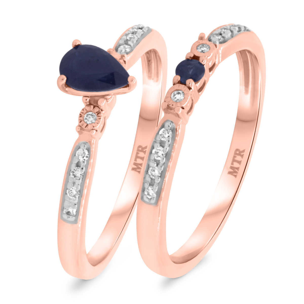 5/8 Carat T.W. Sapphire Matching Bridal Ring Set 10K Rose Gold
