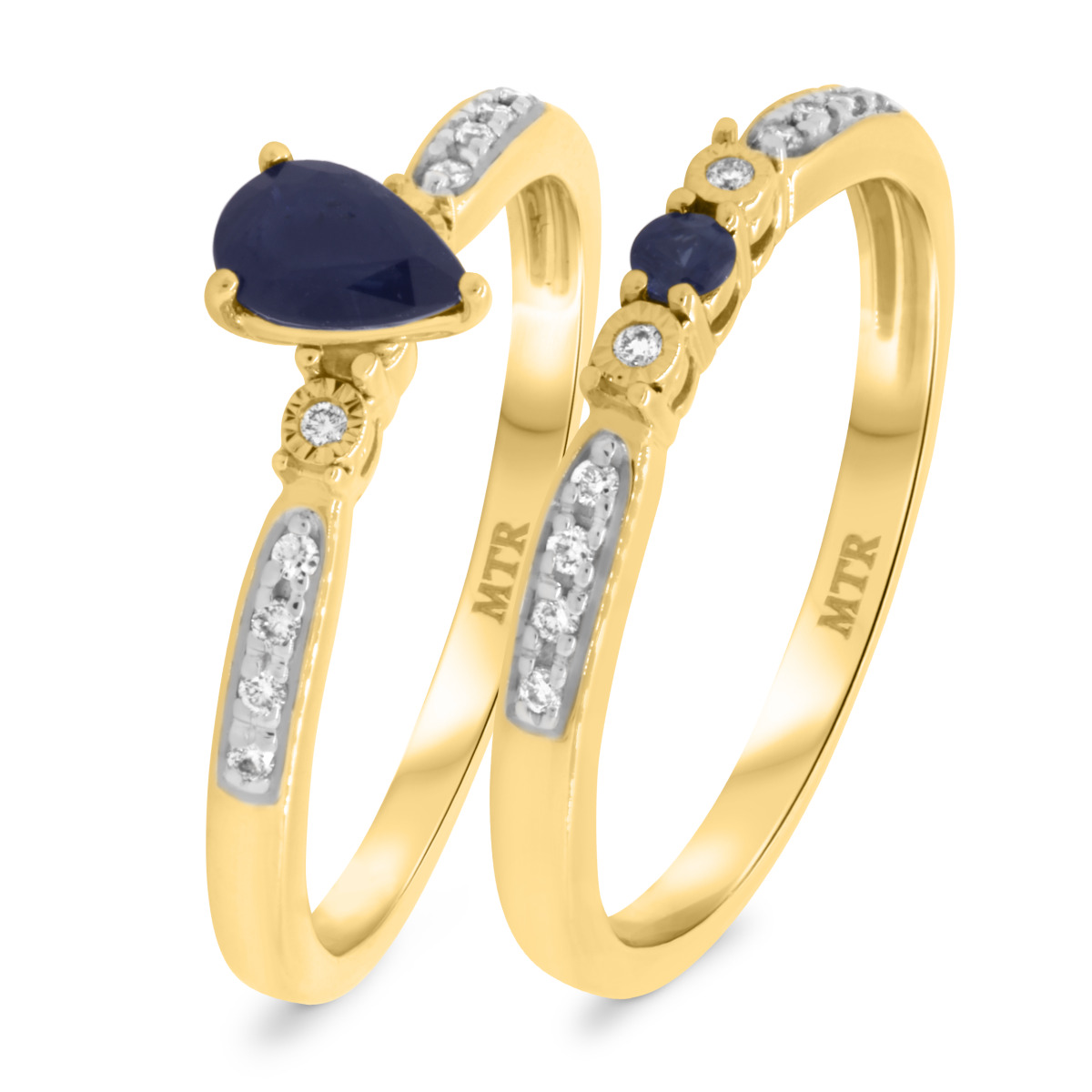 5/8 CT. T.W. Sapphire Matching Bridal Ring Set 10K Yellow Gold