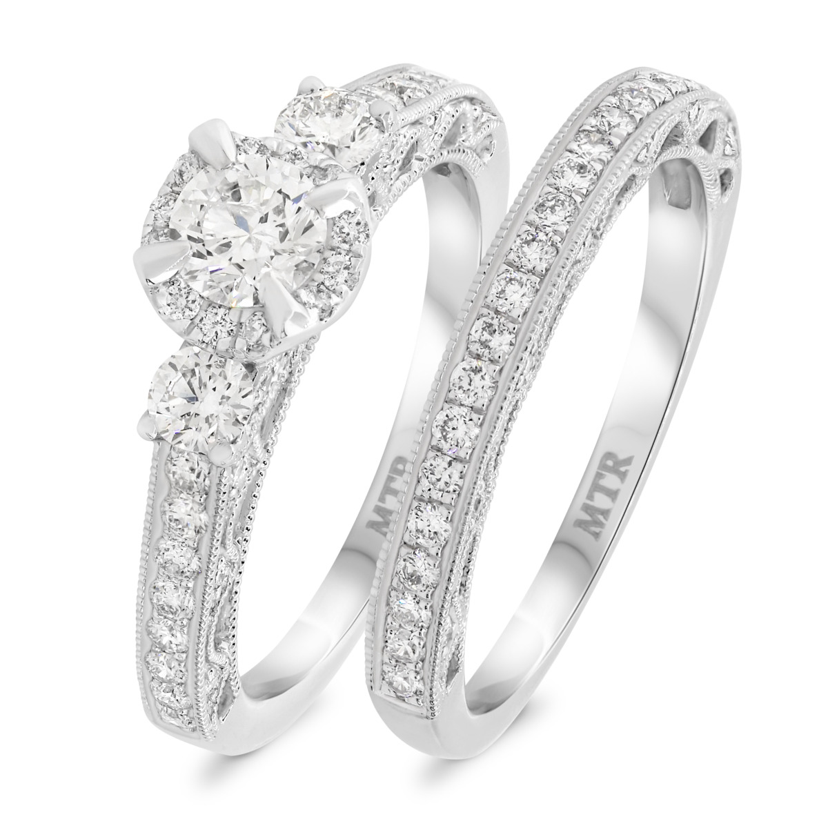 1 3/8 Carat T.W. Diamond Matching Bridal Ring Set 14K White Gold