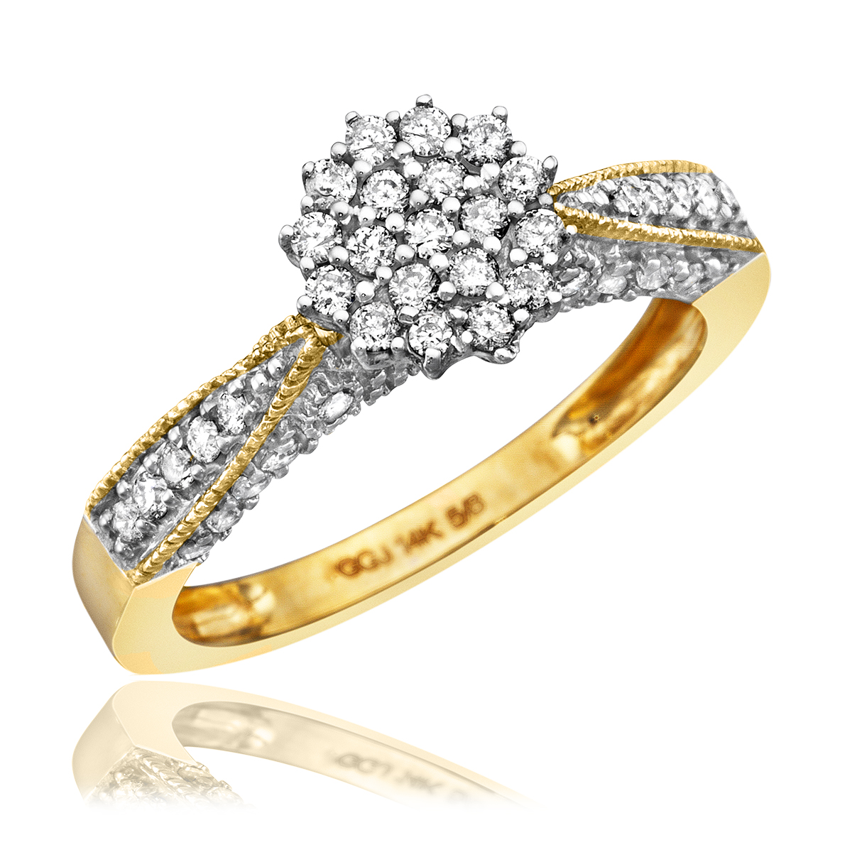 1/2 CT. T.W. Diamond Ladies' Engagement Ring 14K Yellow Gold