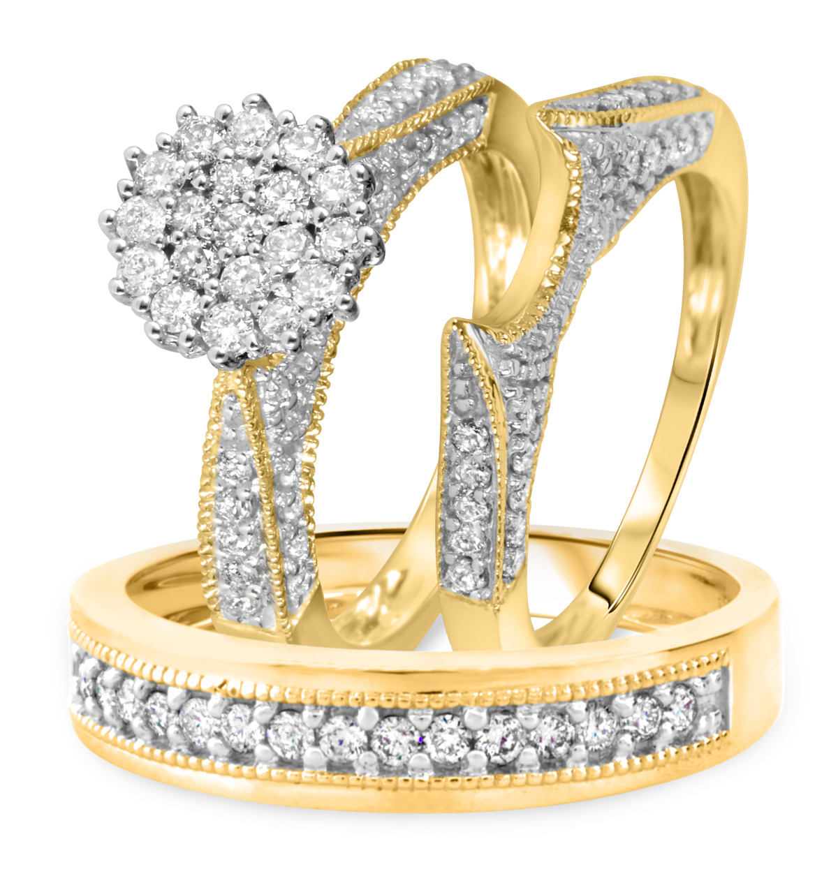 1 Carat Diamond Trio Wedding Ring Set 10K Yellow Gold