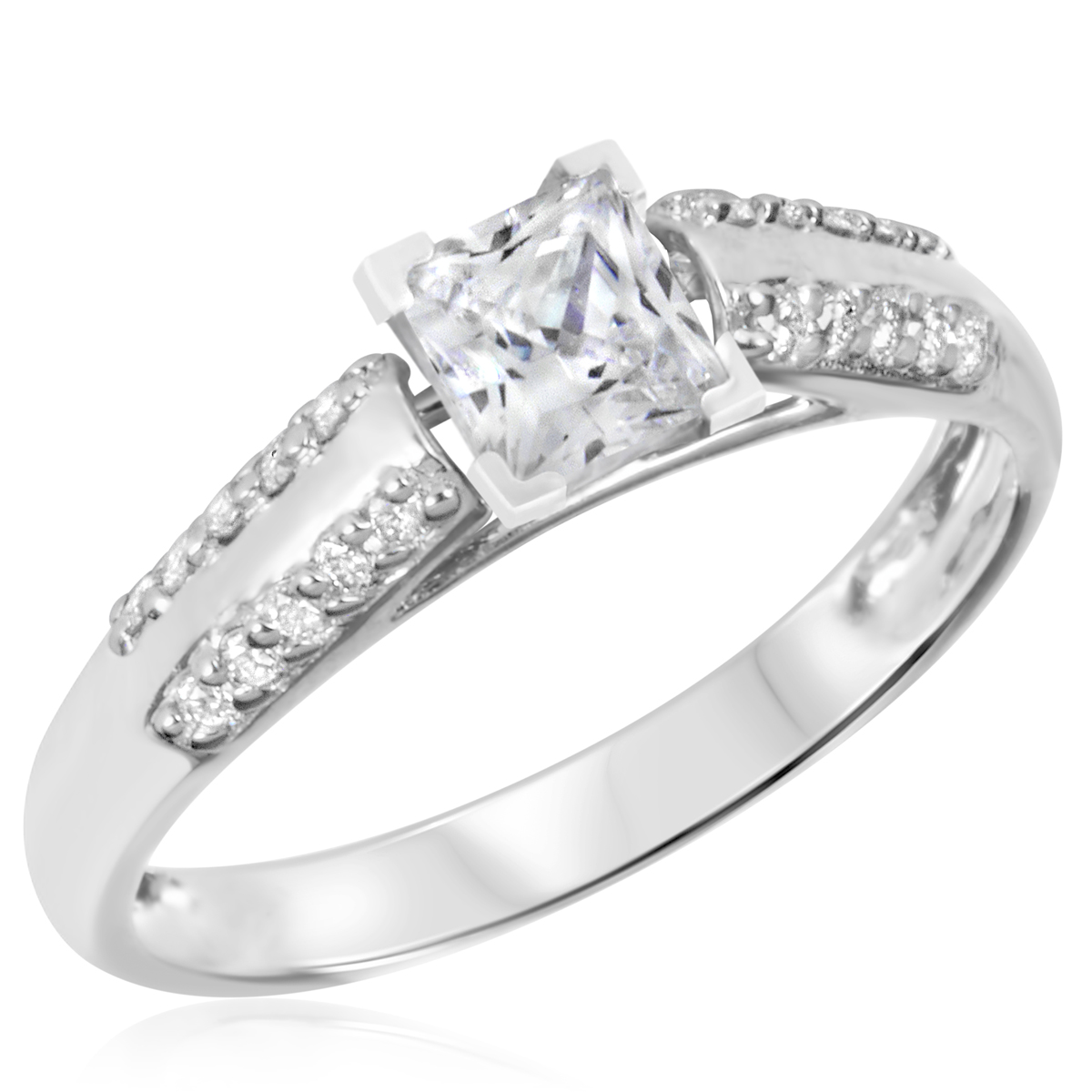 1 CT. T.W. Diamond Ladies Engagement Ring 14K White Gold