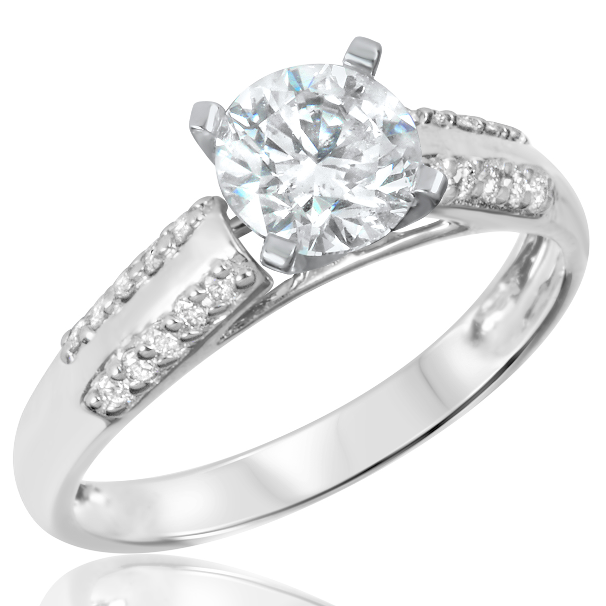1 1/5 CT. T.W. Diamond Ladies Engagement Ring 14K White Gold