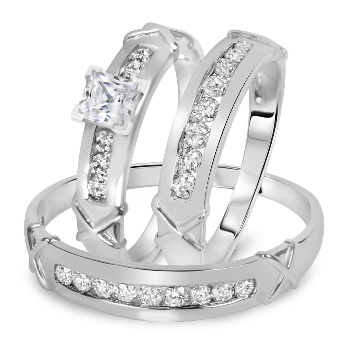 1 1/7 CT. T.W. Diamond Ladies Engagement Ring, Wedding Band, Men's Wedding Band Matching Set 10K White Gold