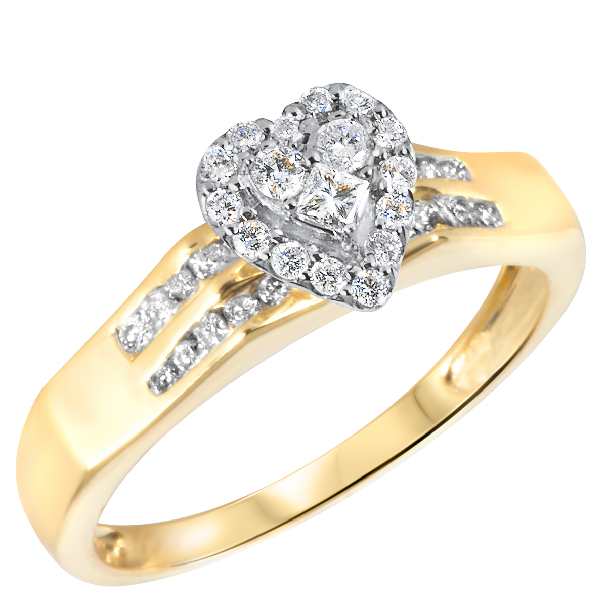 1/2 CT. T.W. Diamond Ladies Engagement Ring 10K Yellow Gold