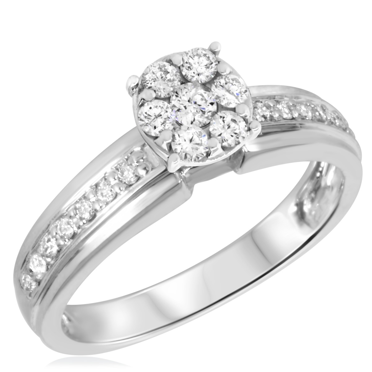 1/3 CT. T.W. Diamond Ladies Engagement Ring 10K White Gold