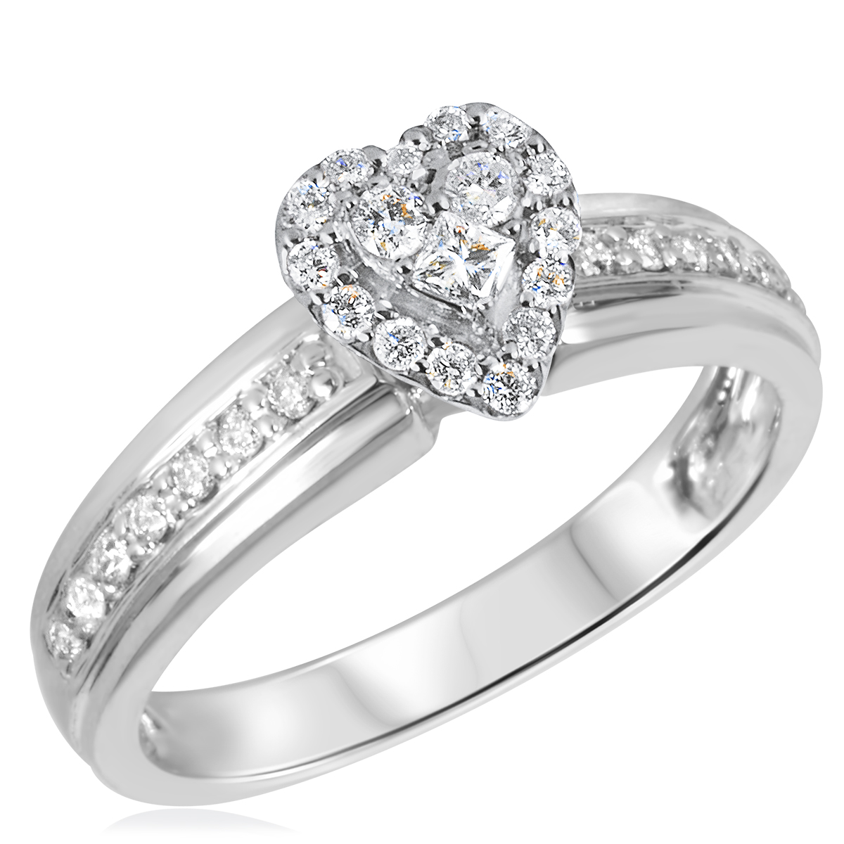 3/8 CT. T.W. Diamond Ladies Engagement Ring 14K White Gold