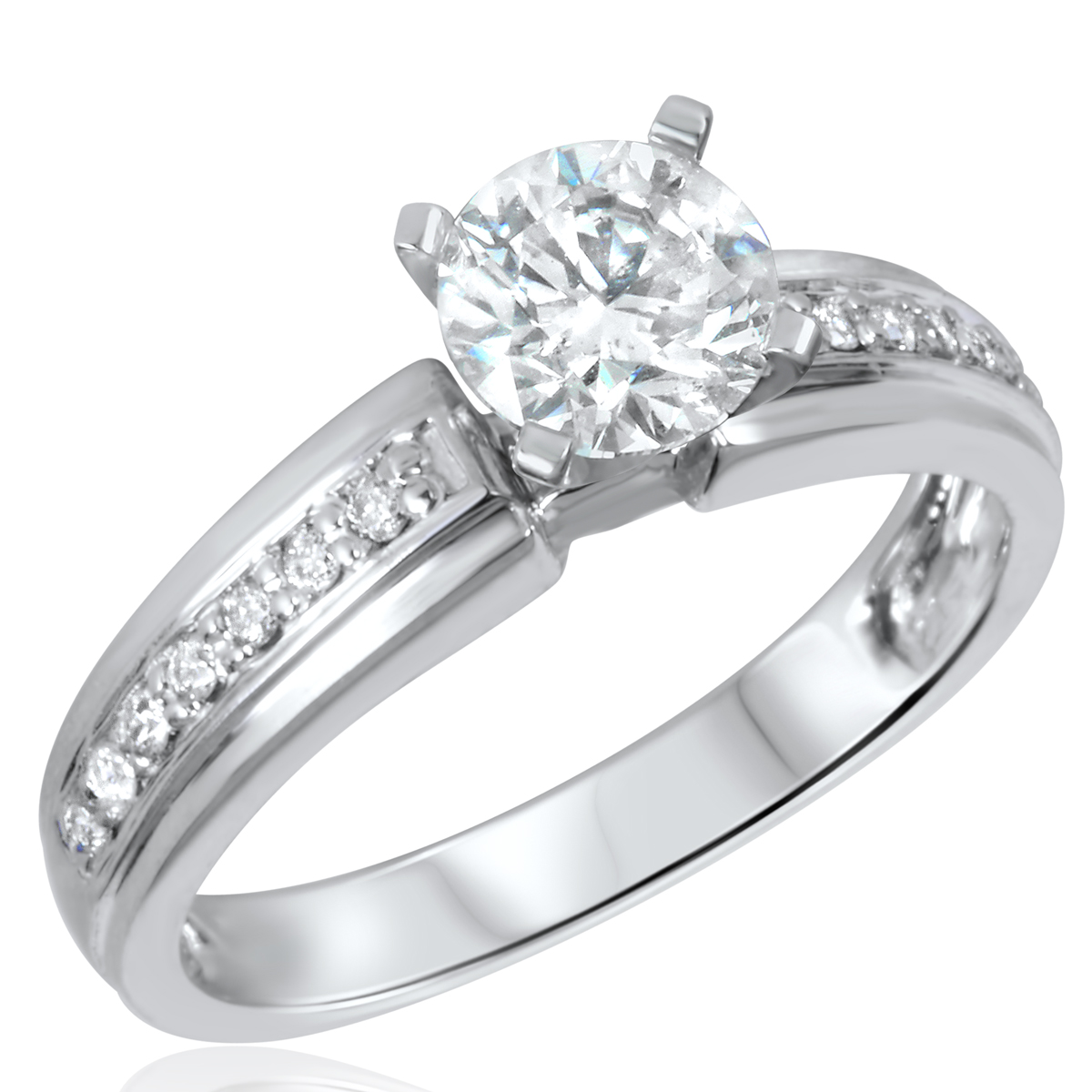 1 1/7 CT. T.W. Diamond Ladies Engagement Ring 14K White Gold