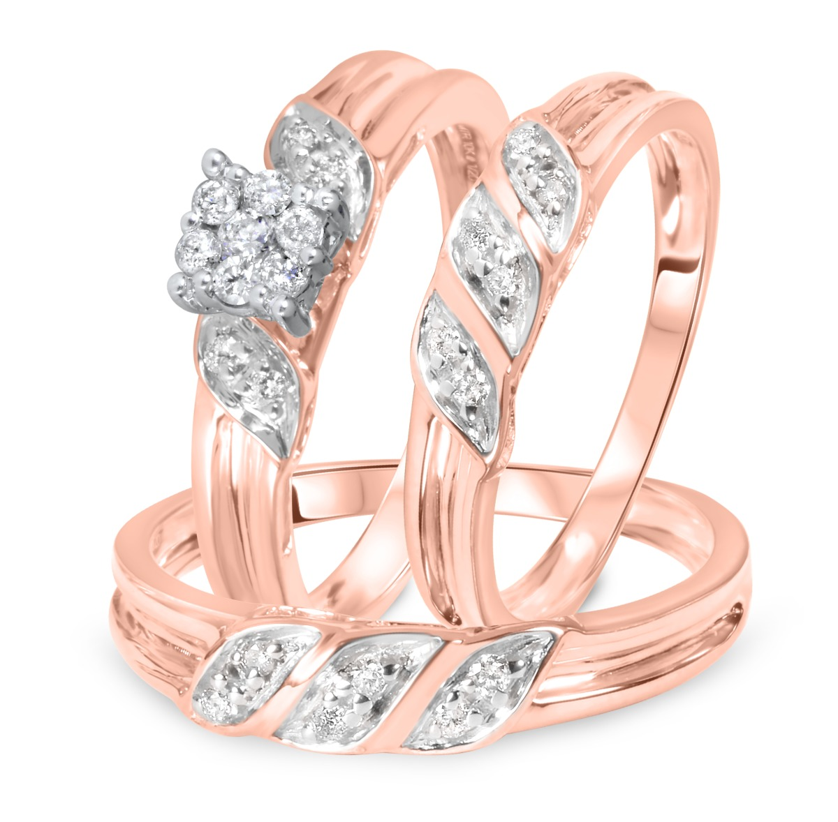 1/4 Carat Diamond Trio Wedding Ring Set 10K Rose Gold