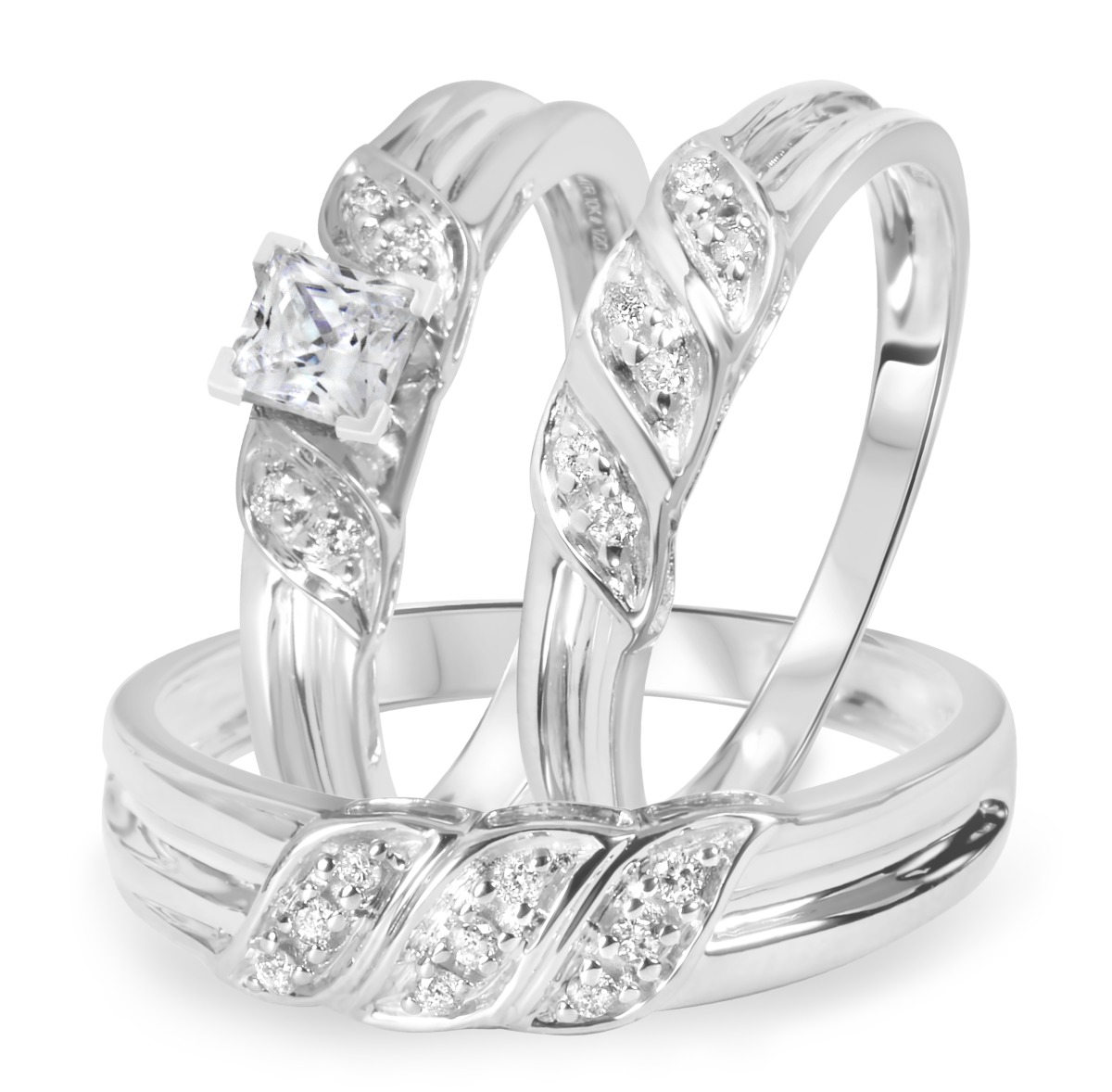 1/2 CT. T.W. Diamond Ladies Engagement Ring, Wedding Band, Men's Wedding Band Matching Set 10K White Gold