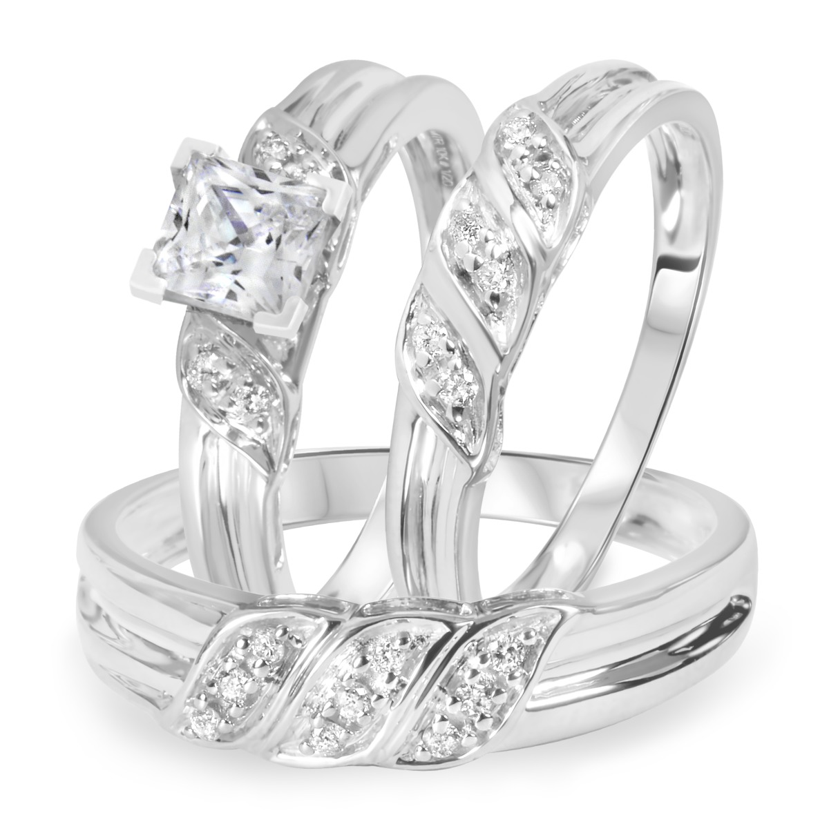 1 1/5 CT. T.W. Diamond Ladies Engagement Ring, Wedding Band, Men's Wedding Band Matching Set 14K White Gold