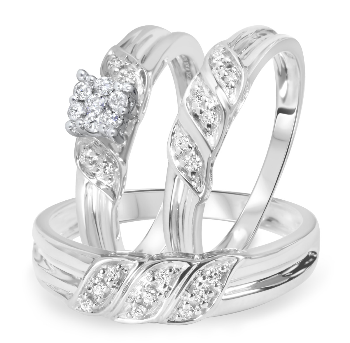 1/4 Carat Diamond Trio Wedding Ring Set 14K White Gold