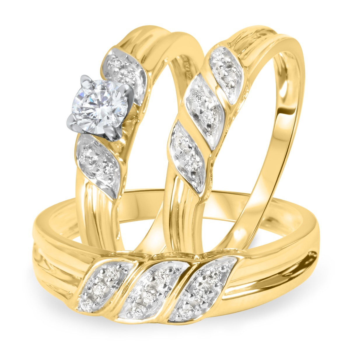 1/2 CT. T.W. Diamond Ladies Engagement Ring, Wedding Band, Men's Wedding Band Matching Set 14K Yellow Gold