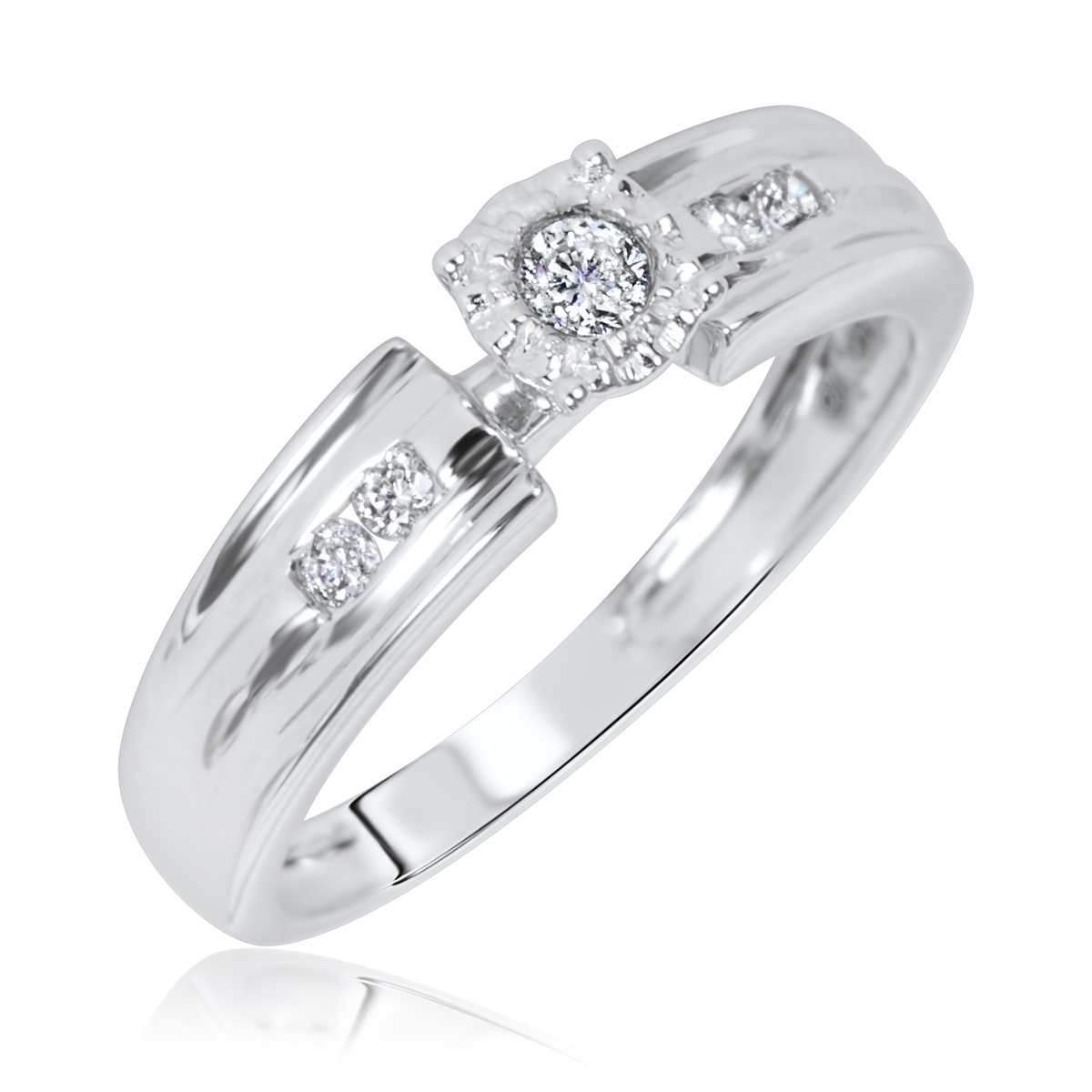 1/8 CT. T.W. Diamond Ladies' Engagement Ring 14K White Gold