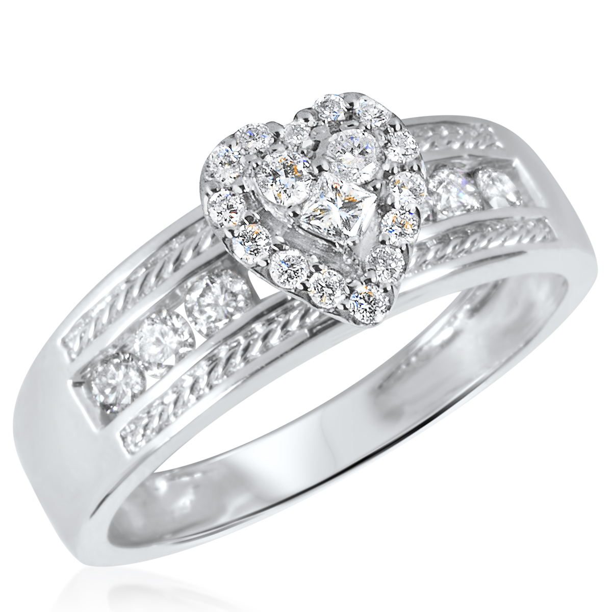 1/2 CT. T.W. Diamond Ladies Engagement Ring 14K White Gold
