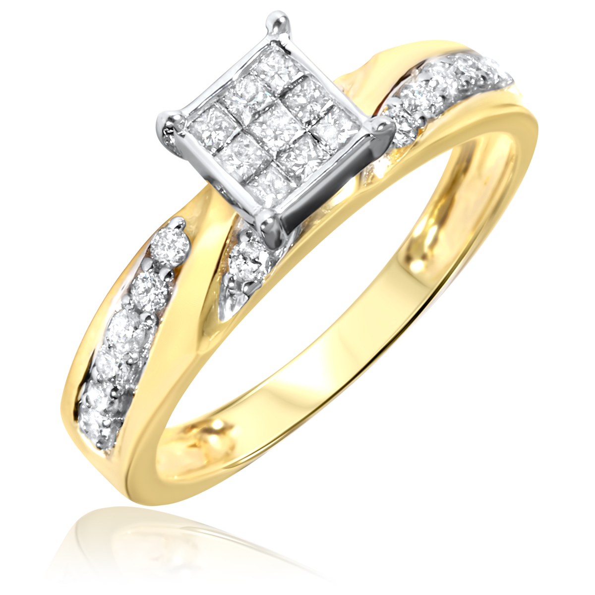 His Her Mens Woman Diamonds Wedding Ring Bands Trio Bridal Set 10k Yellow Gold