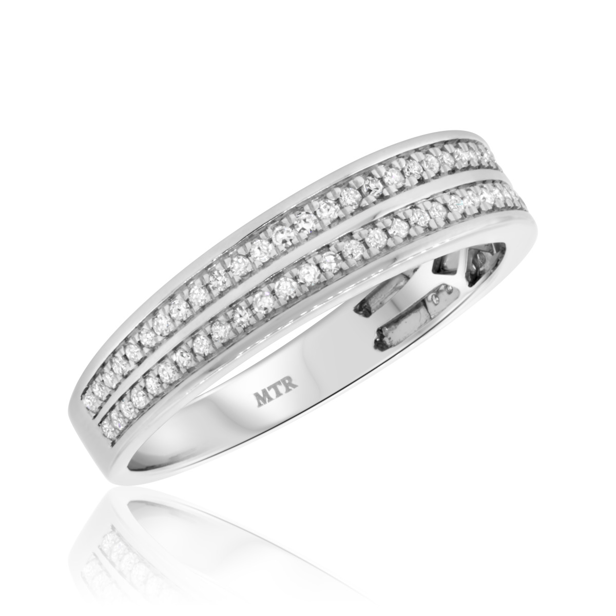1/2 CT. T.W. Diamond Mens Wedding Band  10K White Gold