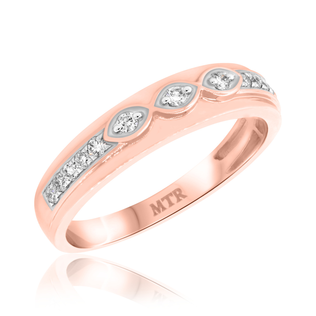1/4 Carat T.W. Diamond Mens Wedding Band  10K Rose Gold