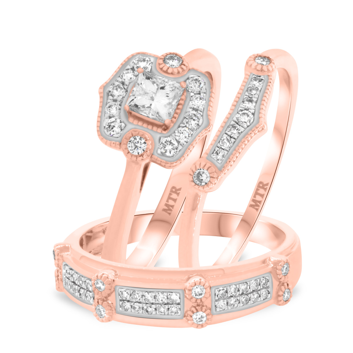 2/3 Carat T.W. Diamond Trio Matching Wedding Ring Set 10K Rose Gold