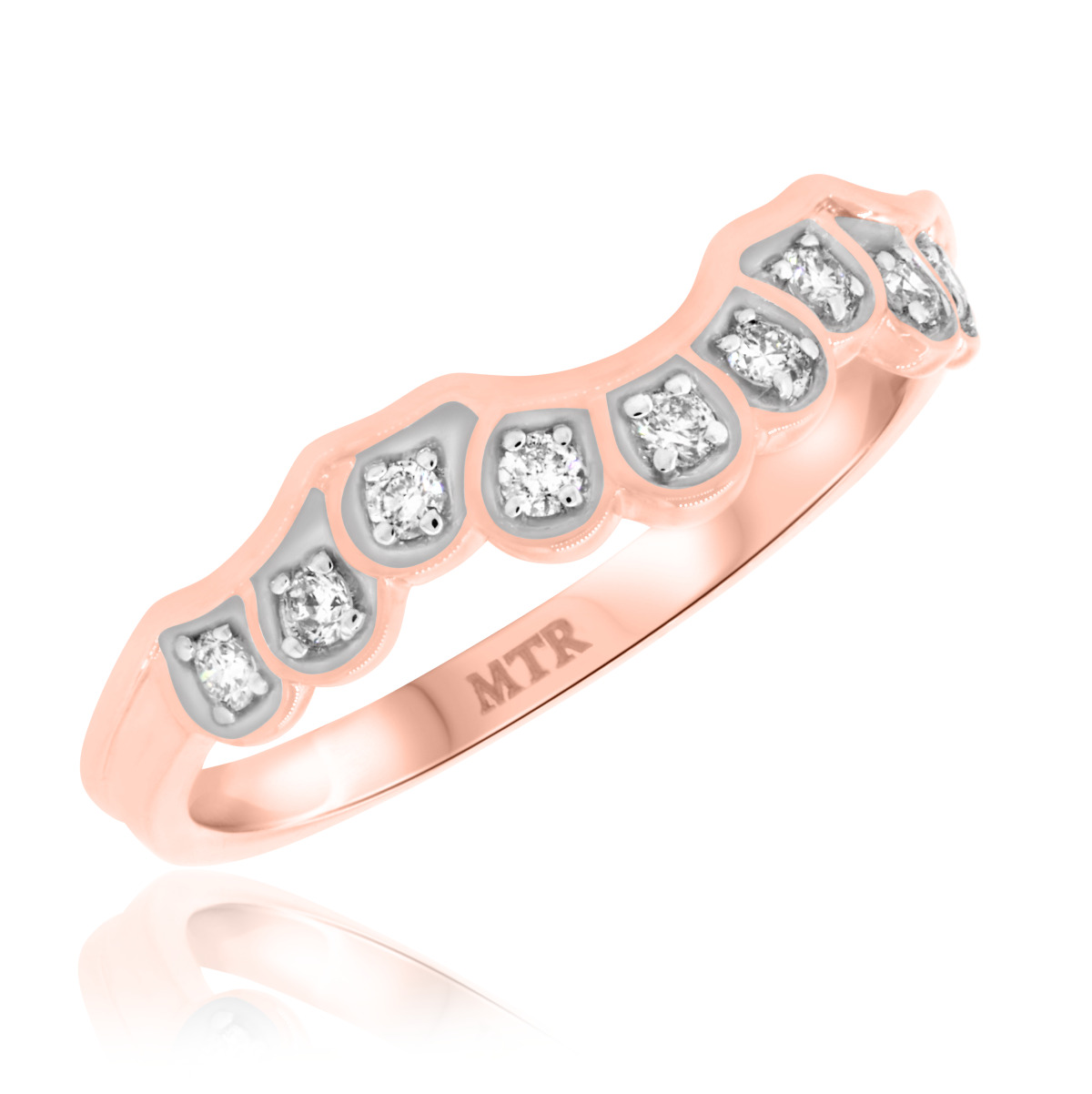 1/6 CT. T.W. Diamond Ladies Wedding Band  14K Rose Gold