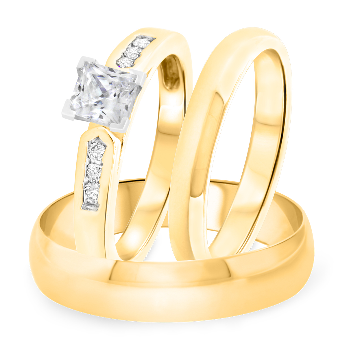 1 1/8 CT. T.W. Diamond Ladies Engagement Ring, Wedding Band, Men's Wedding Band Matching Set 10K Yellow Gold