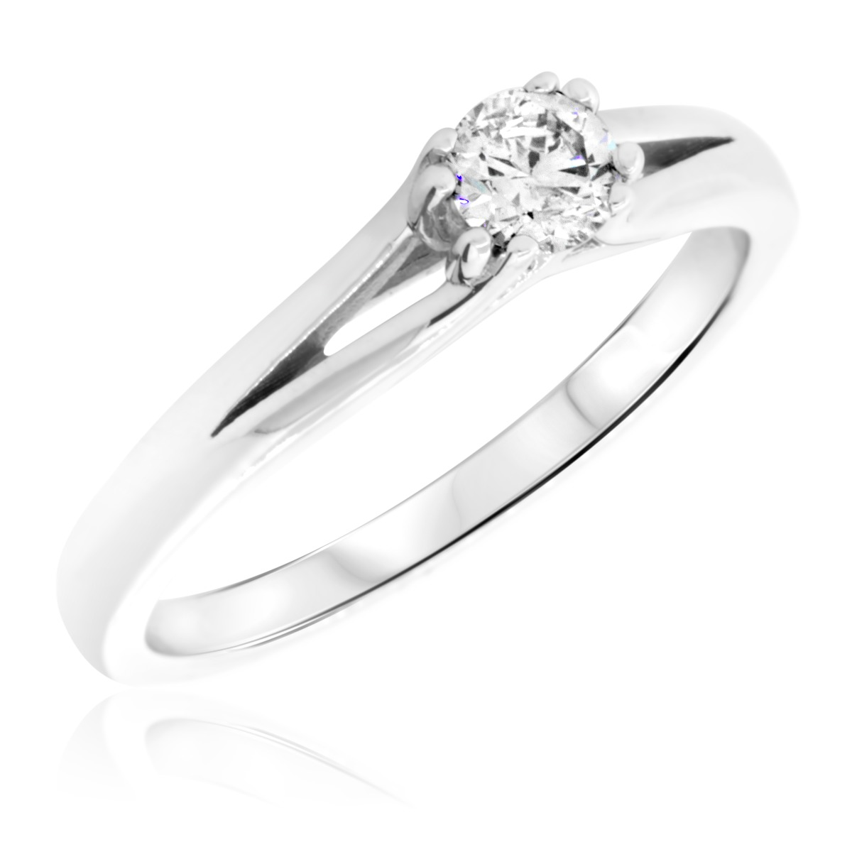 1/4 Carat T.W. Round Cut Diamond Ladies Engagement Ring 14K White Gold