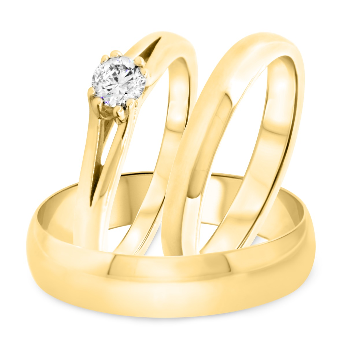 1/4 Carat T.W. Round Cut Diamond Mens Wedding Band 14K Yellow Gold