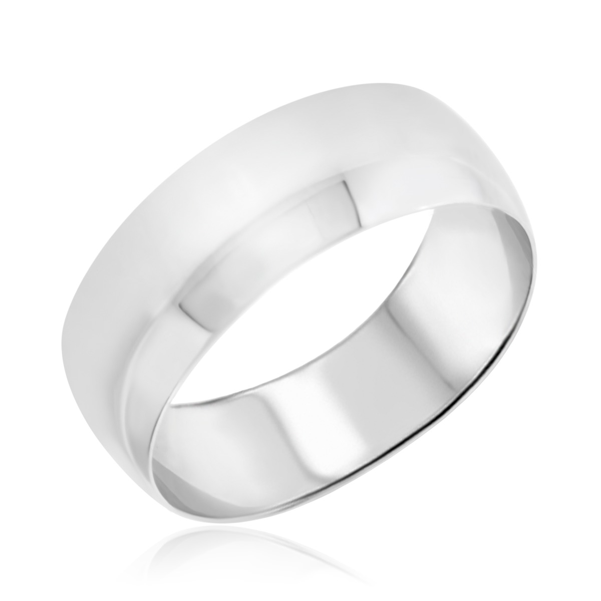 Comfort Fit Mens Wedding Band  10K White Gold