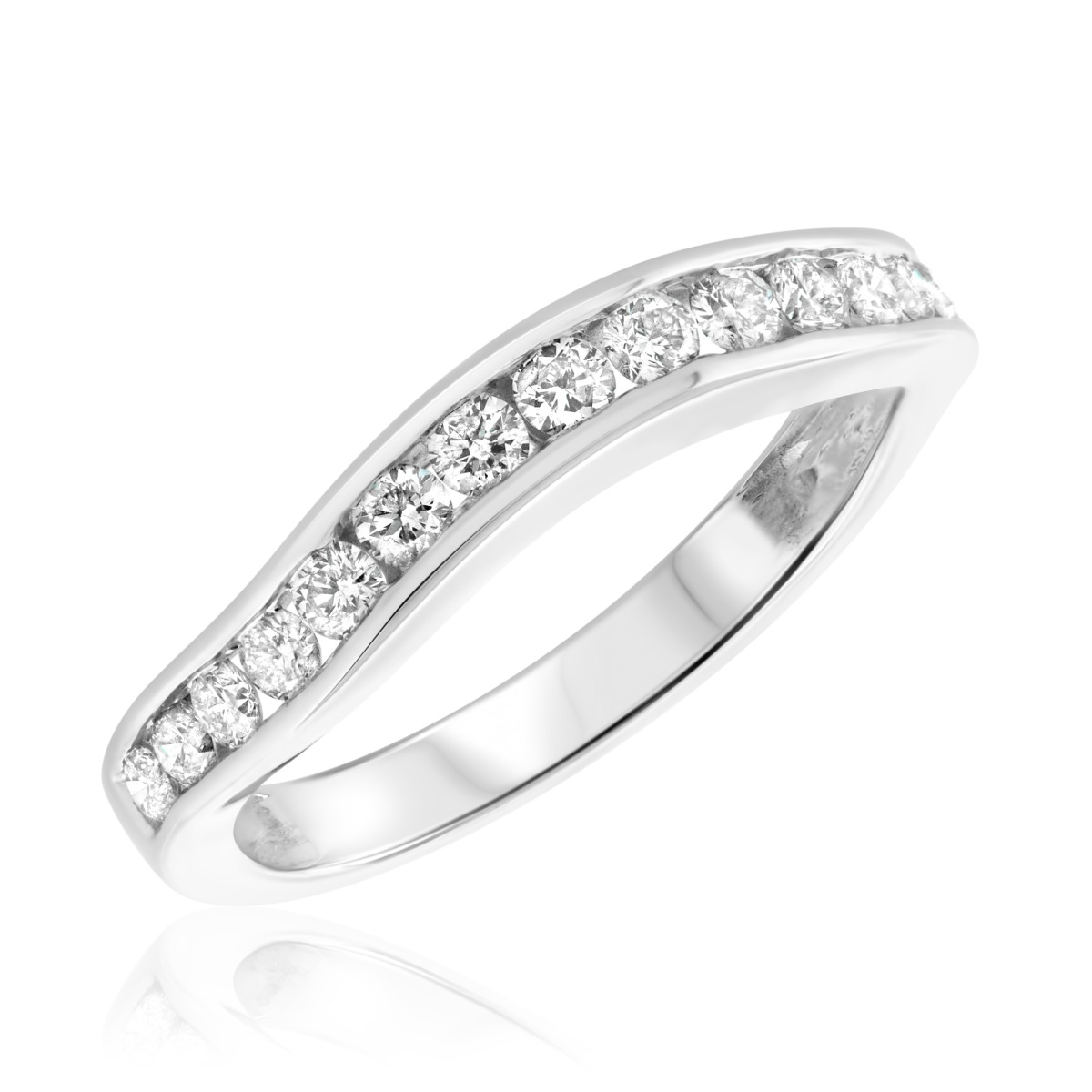 1/2 CT. T.W. Diamond Ladies Wedding Band  10K White Gold