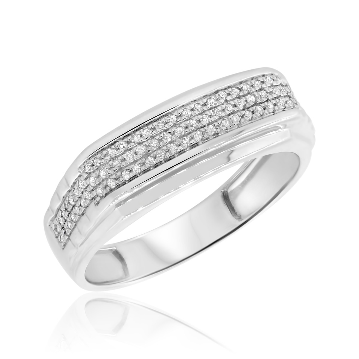 1/6 Carat T.W. Diamond Ladies Wedding Band  10K White Gold