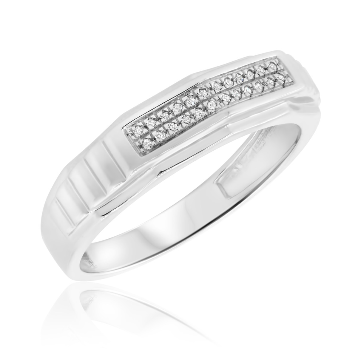 1/20 Carat T.W. Diamond Ladies Wedding Band  14K White Gold