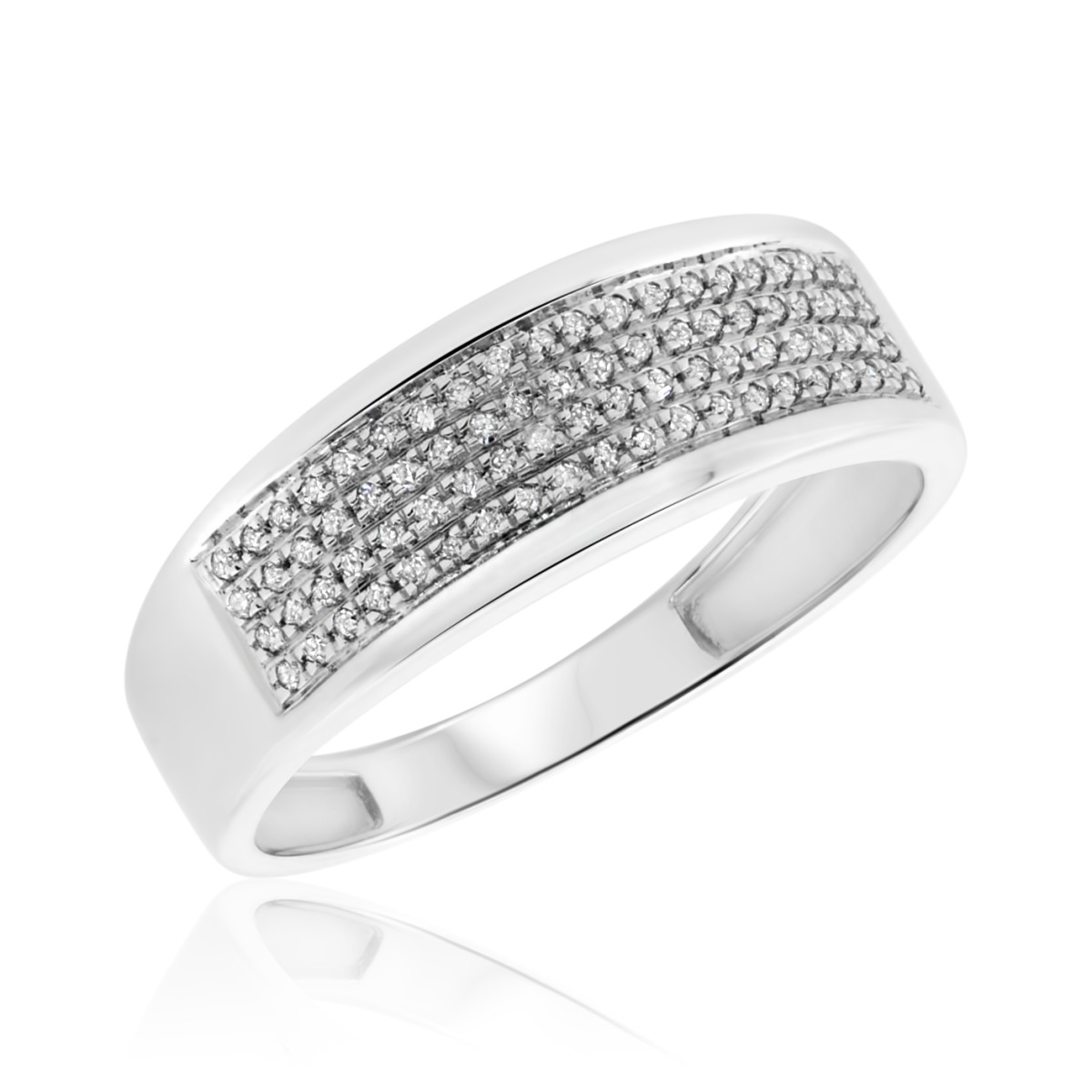 1/6 CT. T.W. Diamond Ladies Wedding Band 14K White Gold